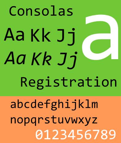 Шрифт Consolas, изображение взято с en.wikipedia.org